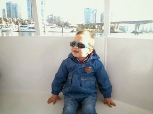 Mateo on a taxi boat