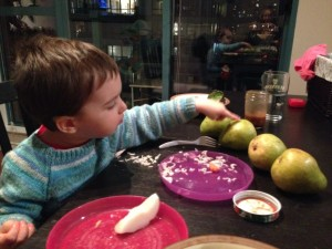 Mateo counting the pears