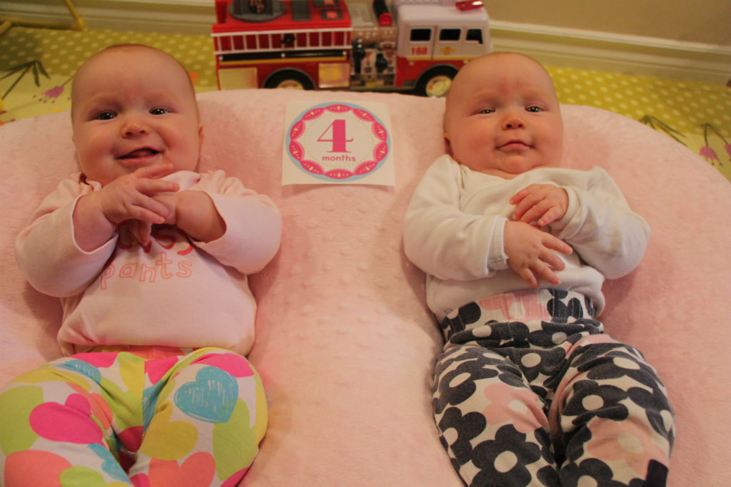 My twins girls are 4 months old - Brother and Twins