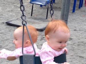 At the playground, having fun